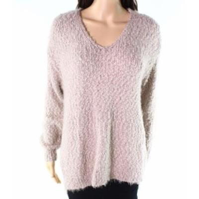 ファッション トップス Sojo NEW Beige Womens Size Large PL Petite Fuzzy Tunic V-Neck Sweater