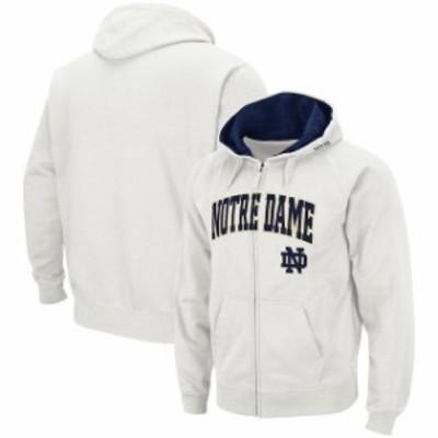 Colosseum コロセウム スポーツ用品  Colosseum Notre Dame Fighting Irish White Arch & Logo Tackle Twill Full-Zip Hoodie