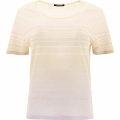 Canessa レディース Tシャツ トップス Striped Linen T-Shirt Pink