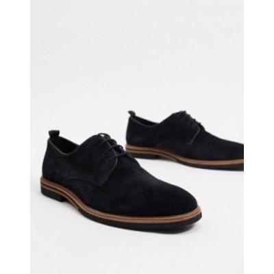 エイソス メンズ ブーツ・レインブーツ シューズ ASOS DESIGN lace up shoes in black suede with contrast sole BLACK