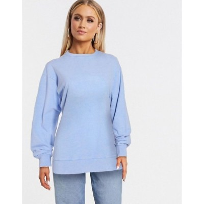 エイソス レディース シャツ トップス ASOS DESIGN oversized washed sweatshirt in cornflower blue