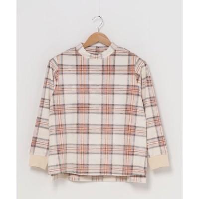tシャツ Tシャツ キッドブルー -シャギーカラードチェック -長袖トップス -KRPN539 -kidblue