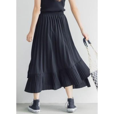 コカ coca Aラインフレアプリーツスカート (Black)