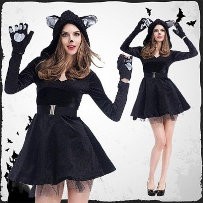 ハロウィン コスプレ コスチューム ネコ  アニマル 女性用  2点セット アニマル 衣装 大人用 cosplay  衣装