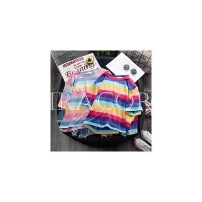 半袖TシャツレディースTシャツボーダー柄半袖サマーTシャツ虹色カットソー夏Tシャツクルーネック縞柄Tシャツレトロ可愛い