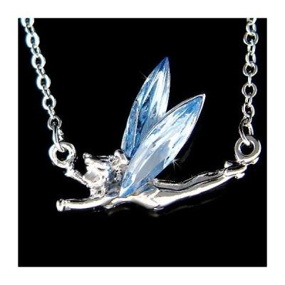 ネックレス インポート スワロフスキ クリスタル ジュエリー Blue Tinkerbell made with Swarovski Crystal Fairy PIXIE ANGEL Charm Necklace NEW