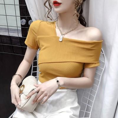 オフショル カットソー 韓国 オルチャン ストリート Tシャツ 半袖 セクシー K-POP きれいめ トップス 4T-568【メール便OK】