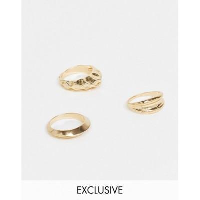ヴェロモーダ Vero Moda レディース 指輪・リング 3点セット ジュエリー・アクセサリー exclusive 3-pack rings in gold ゴールド