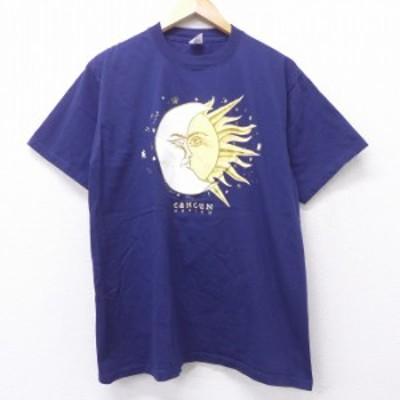 古着 半袖 Tシャツ 太陽 月 カンクン メキシコ コットン クルーネック 紺 ネイビー Lサイズ 中古 メンズ Tシャツ 古着