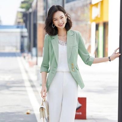 サマージャケット レディース 薄手 7分袖 テーラードジャケット 大きいサイズ 通勤 OL オフィス スーツジャケット 30代 40代 夏 細身 着痩せ