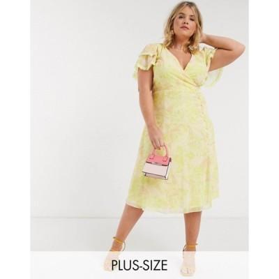 リトルミストレス レディース ワンピース トップス Little Mistress Plus wrap midi dress in lemon floral