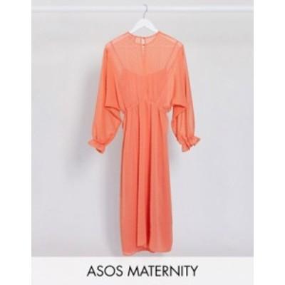 エイソス レディース ワンピース トップス ASOS DESIGN Maternity dobby batwing midi dress with drawstring waist in coral Coral