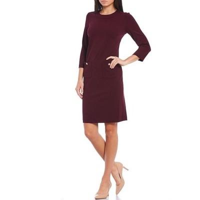 カール ラガーフェルド レディース ワンピース トップス Pearl Pocket 3/4 Sleeve Scuba Crepe Shift Dress