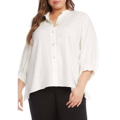 カレンケーン レディース シャツ トップス Plus Size Handkerchief Hem Linen Button Down Top