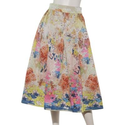 オリジナル フラワーメモリーサテンフレアスカート