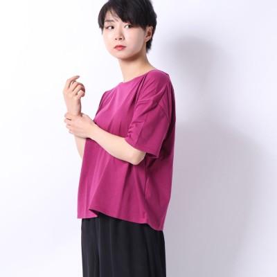 スタイルブロック STYLEBLOCK 二重地天竺バックドレープTシャツ (ピンク)