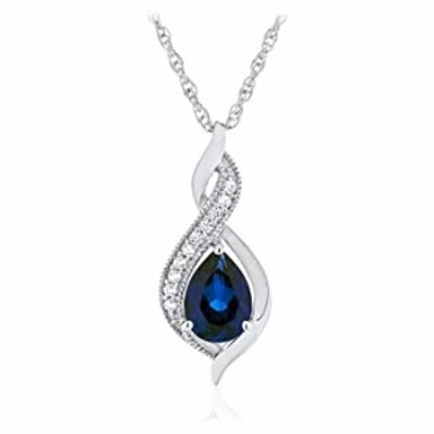 ".925 Sterling Silver Pear-Shaped Birthstone & Lab Grown White Sapphire Milgrain Twist Pendant Necklace with 18"" Rope Chain - Sep"