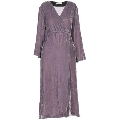 MOMONÍ 7分丈ワンピース・ドレス 鉛色 42 レーヨン 82% / シルク 18% 7分丈ワンピース・ドレス
