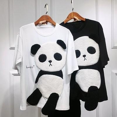 パンダプリント Tシャツ ファッションレタープリント女性 ルーズシャツ半袖シャツ底入れシャツ 韓国ファッション