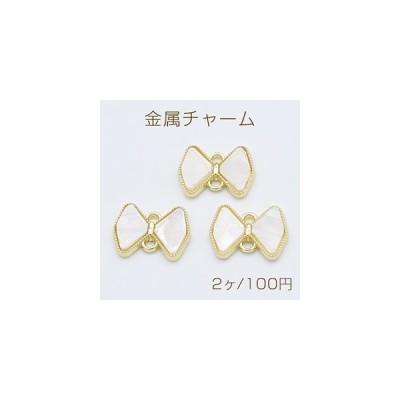 金属チャーム アクリル貼り コネクター リボン 2カン 11×15mm ゴールド/ホワイト【2ヶ】