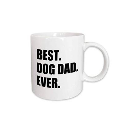 3dRose mug_184992_1 Best Dog Dad Ever Fun Pet Owner Gifts for Him Animal Lover Text Ceramic Mug, 11-Ounce【並行輸入品】