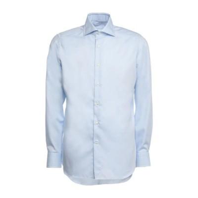 ANDREA ZENI 無地シャツ  メンズファッション  トップス  シャツ、カジュアルシャツ  長袖 スカイブルー