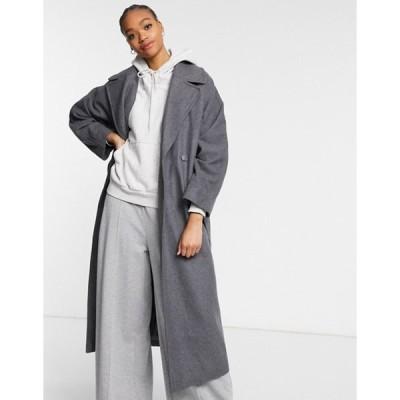 ウィークデイ レディース コート アウター Weekday Kia longline tailored coat with tie waist in gray