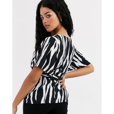 ジェイディーワイ レディース シャツ トップス JDY Dana short sleeve zebra print tie blouse BLACK