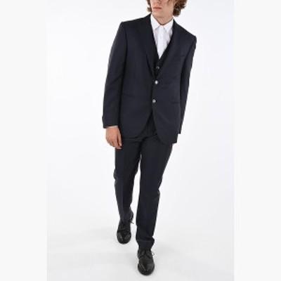 CORNELIANI/コルネリアーニ スーツ Blue メンズ peak lapel hairline striped CEREMONY LEADER 3 piece waistcoat suit dk