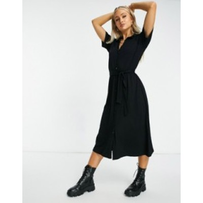 エイソス レディース ワンピース トップス ASOS DESIGN midi button up shirt dress in black Black