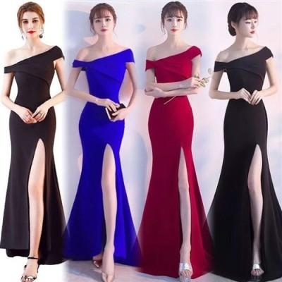 ドレス ロングドレス キャバドレス 斜めショルダー肩魅せセクシーデザインストレッチロングドレス フォーマルドレス パーティードレス