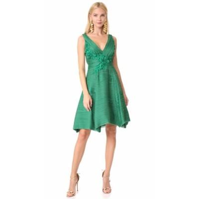 ワンピース マルケッサ  MARCHESA NOTTE Pleated Cocktail Dress Emerald Green 6