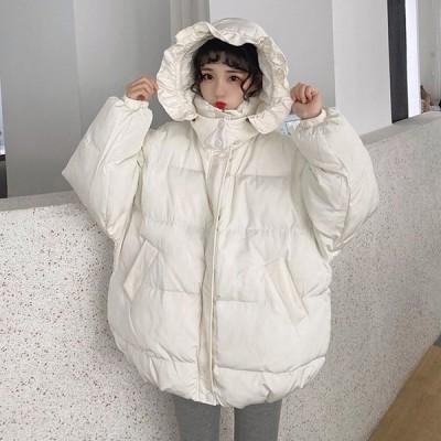 韓国風ダウン コート レディース アウター カジュアル あったか 防寒 防風 秋冬 軽量 中綿 可愛い ダウンジャケット  フート付き 学生服 ホワイト
