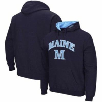 Colosseum コロセウム スポーツ用品  Colosseum Maine Black Bears Navy Arch & Logo Pullover Hoodie