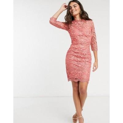 ペーパードールズ レディース ワンピース トップス Paper Dolls crochet lace dress in pink Amber