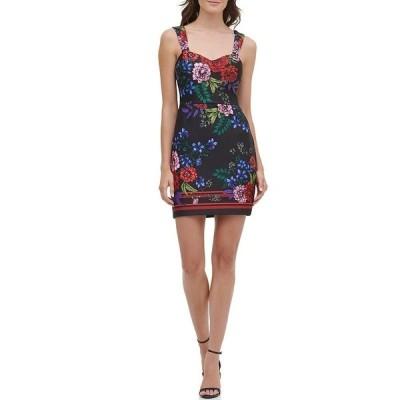 ゲス レディース ワンピース トップス Floral Print Sleeveless Sweetheart Neck Scuba Sheath Dress Black Multi