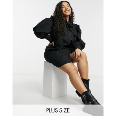 インフルエンス Influence Plus レディース ワンピース ワンピース・ドレス Bow Neck Smock Dress With Broderie Detail In Black ブラック