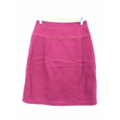 【中古】クローラ crolla スカート ひざ丈 台形 リボン タック 総柄 ウール 34 ピンク /M2N18 レディース