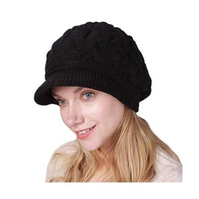 Kangqifen レディース 冬用 暖かいニット帽 バイザー付き ウールスキーキャップ US サイズ: One Size カラー: ブラック