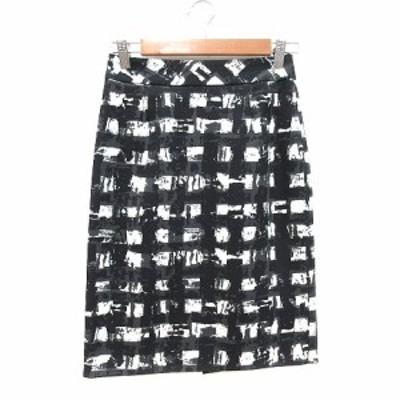 【中古】デミルクス ビームス Demi-Luxe BEAMS タイトスカート ひざ丈 総柄 36 黒 ブラック 白 ホワイト レディース