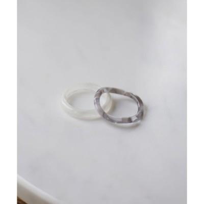 指輪 淡色 マーブル セットリング[2set]