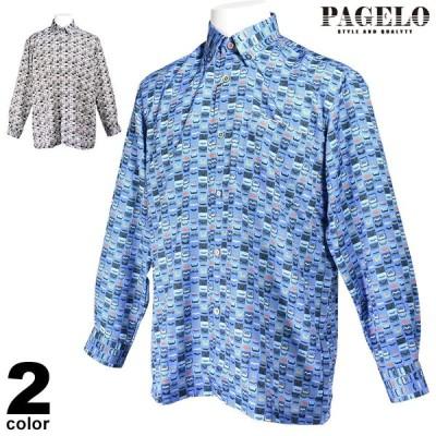 PAGELO パジェロ 長袖 カジュアルシャツ メンズ 2020秋冬 ボタンダウン 柄 07-1119-07