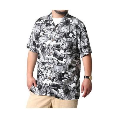 [ルーシャット] アロハシャツ メンズ おおきいサイズ カジュアルシャツ カジュアル 半袖 シャツ ゆったり おしゃれ 総柄 レーヨン 柄C 4L