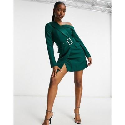 ラビッシュアリス レディース ワンピース トップス Lavish Alice asymmetric off shoulder tux mini dress in forest green Forest green