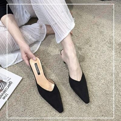 ミュール  ポインテッドトゥ ミュール サンダル レディース低反発 痛くない 幅広 履きやすい シンプル ミュールサンダル サボ カジュアル 女子会 歩きやすい