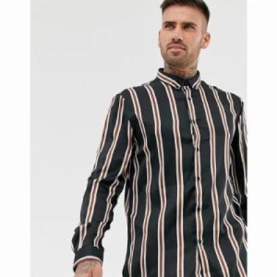 リバーアイランド シャツ satin shirt with silver stripes in black Black