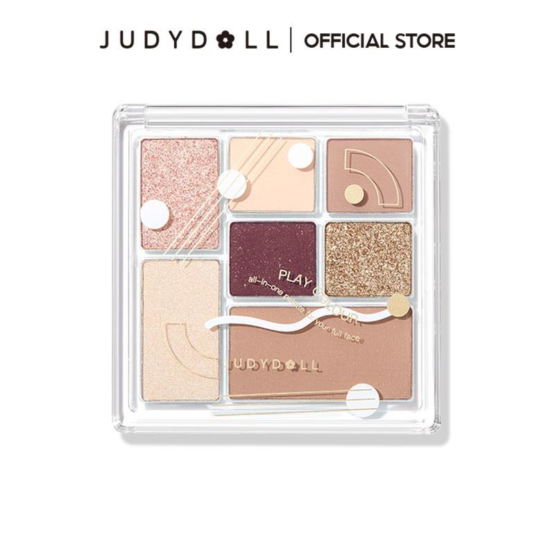 Judydoll橘朵七巧板玩趣眼影盤 彩妝腮紅高光修容 新手啞光珠光旗艦店新色上市