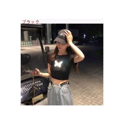 【送料無料】夏 年 発 光 蝶 半袖Tシャツ 女 黒下塗 ミニ丈 風 トッ | 364331_A62733-6051521