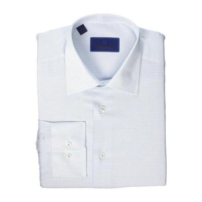 デイビッドドナヒュー メンズ シャツ トップス Regular Fit Mini Basket Check Dress Shirt