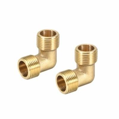 uxcell 海外出荷 真鍮管継手 90度エルボ オスxオス 2個入り G3/8xG3/8